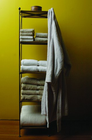 rack of folded towels